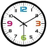 VIKMARI Decorativo Reloj de Pared silenciosa para no Hacer tictac del Movimiento de Cuarzo Colgante de batería del Reloj 12 Inch Marco Blanco