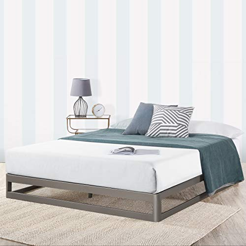 Mellow 9' Metal Platform Bed Frame w/Heavy Duty Steel Slat Mattress Foundation (No Box Spring Needed), King, Gray