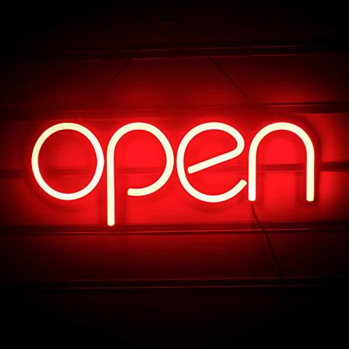 Insegna al neon rossa aperta Insegna a parete aperta a led Luce al neon notturna per arredamento della camera Business Bar Pub Negozio Negozio Hotel Caffè Festa di compleanno Natale (15,7 'x 5,9')