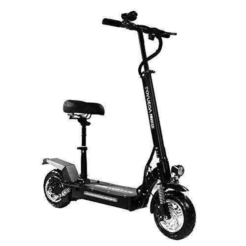MYYINGELE Portátil Patinete/Scooter eléctrico Dos Ruedas, con sillín, Plegable, luz LED Frontal,...