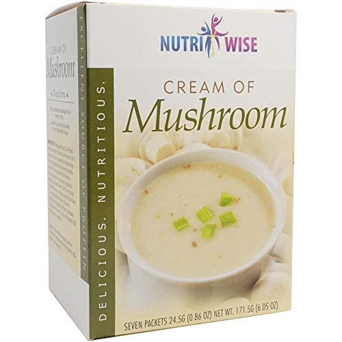 NutriWise - Cream of Mushroom Diet Soup | 7/Box | High Protein, Gluten Free, Low Calorie, Low Fat, Low Carb, Sugar Free