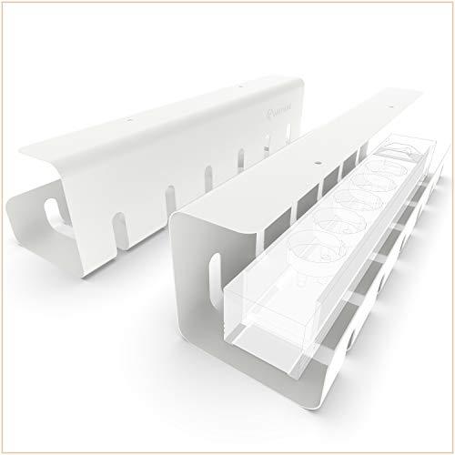 UNITURE® - [2er Set] Kabelkanal Schreibtisch für ordentliches Kabelmanagement - Kabelhalter Schreibtisch mit einfacher Montage & zeitlosem Design - 2x 40cm - Kabelführung für Home-Office (weiß)
