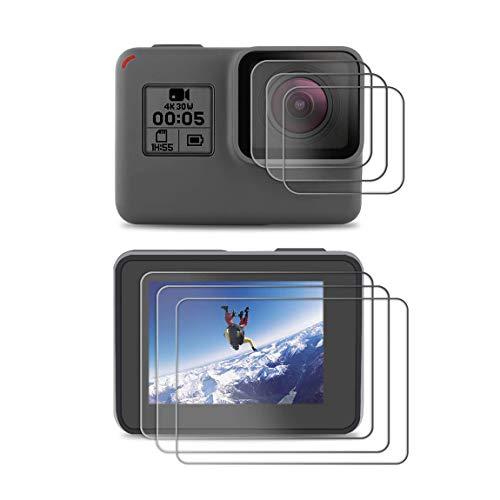 X-Dision Protector de Pantalla Compatible con GoPro Hero 7(Black)/5/6,[Resistente a Rayones,Fácil de Instalar,Dureza 9H], [3 Piezas] Película de Vidrio Templado para GoPro Hero 7(Black)/5/6