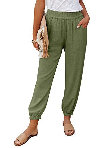 ROSKIKI Womens Soft Boho Linen Solid Jogger Pants Drawstring Pockets Lounge Pants Bottom Green M