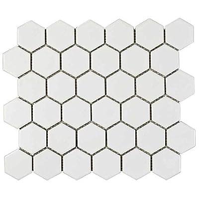 "1 Carton/10 SQFT - 2"" Hexagon Porcelain Mosaic Tile, White (Matte)"
