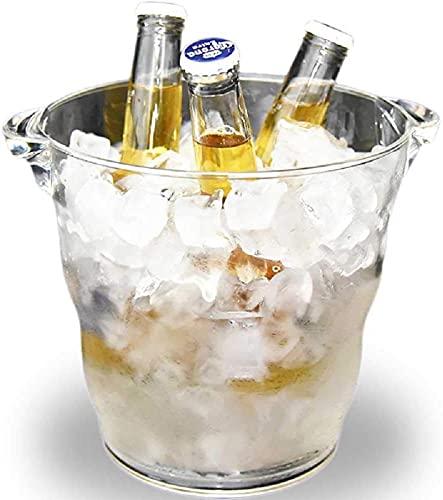 Cubo de hielo 4.9L Cubo de hielo transparente Champagne Cerveza Cerveza Copa de vino Bebida Soporte de la botella Bañera de hielo para barra