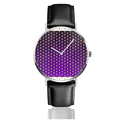 Reloj clásico, estilo Mardi Gras púrpura degradado y oro Fleur De Negro correa de cuero muñeca Casual relojes