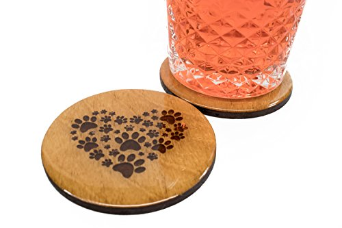 """Premium Animal Lover Coasters - 4 Handmade 3.5"""" Round Wooden Mother's Day Gift Set Pet Lover Unique"""