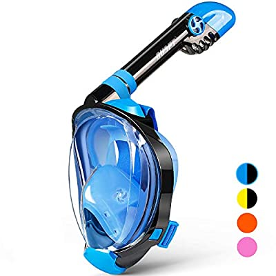 OUSPT Full Face Snorkel Mask, Snorkeling Mask with Detachable Camera Mount, Panoramic 203° View Upgraded Dive Mask with Safety Breathing System, Dry Top Set Anti-Fog Anti-Leak