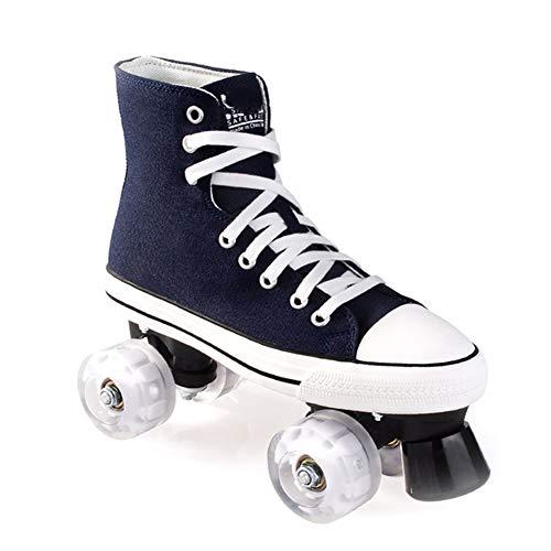 Pinkskattings@ Leinwand Rollschuhe Für Kinder Und Jugendliche Mit 4 Rollen Roller Skates Disco Roller Skate Indoor Outdoor, Komfortable Roller-Skates Für Mädchen Und Jungen,Blau,43