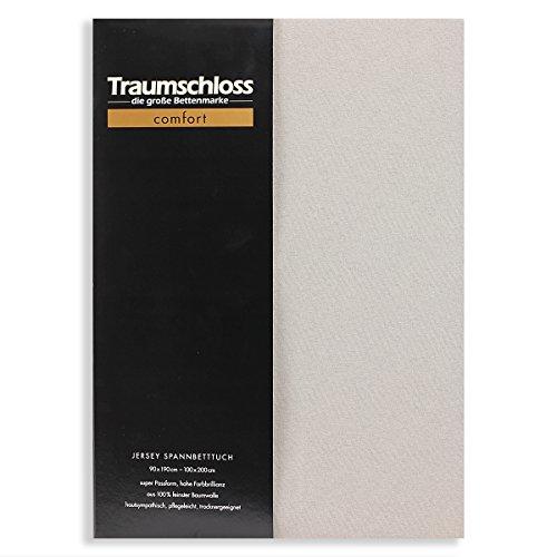 Traumschloss Edel-Jersey Spannbetttuch Comfort 90-100 cm x 200 cm Stein