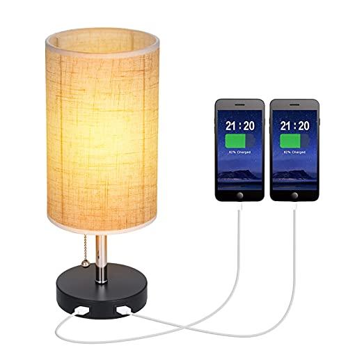 Lámpara de mesita de noche, lámpara de noche con interruptor de tiro, con 2 puertos de carga usb redondos para lámpara de oficina de sala de estar de dormitorio