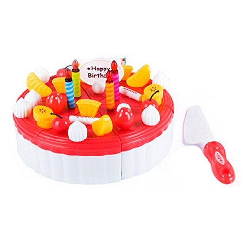 53 pièces de coupe de gâteau Pretend Play Set alimentaire pour les enfants,Rouge
