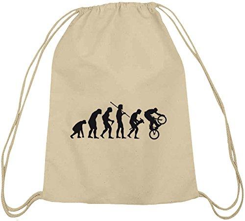 Shirtstreet24, EVOLUTION BMX, Bike Sport Baumwoll natur Turnbeutel Rucksack Sport Beutel, Größe: onesize,natur