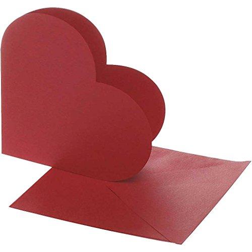 Herzkarten, Kartengröße: 12,5 cm x 12,5 cm, Umschlaggröße: 13,5 cm x 13,5 cm, Rot, 10er-Pack