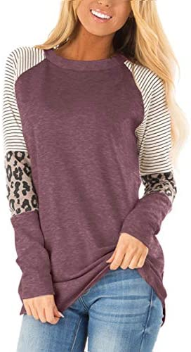 Floral Find Women s Long Sleeve Leopard Color Block Tunic Comfy Stripe Round Neck T Shirt Tops product image