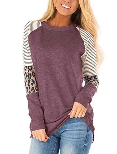 Floral Find Women's Long Sleeve Leopard Color Block Tunic Comfy Stripe Round Neck T Shirt Tops Wine Red