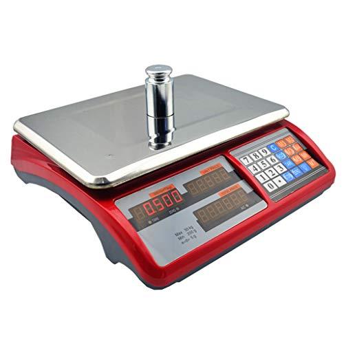 LYC Bascula frutera Comercio hasta 30kg (200g) Suma Precios bateria BASCULA Digital Comercial BALANZA Digital Electronica para Comercio d (Color : Red, Size : 33 * 32 * 11cm)