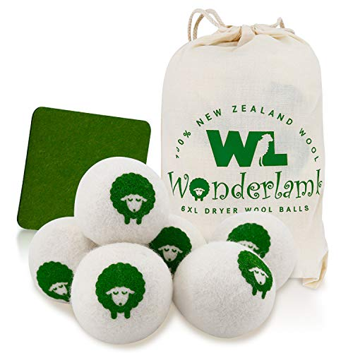 Wool Dryer Balls by Wonderlamb 6-Packs XL - Reusable, Organic Wool Balls Anti-Static for Laundry, Natural Fabric Softener, Great Alternative to Dryer Sheets and Liquid Softener and Baby Safe
