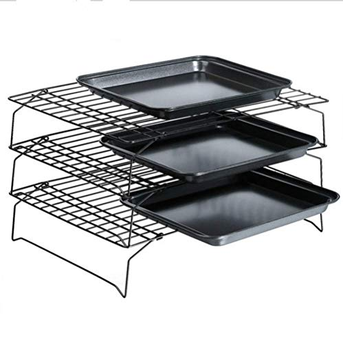 "Mokpi 3-Tier Stackable Non-Stick Cooling Rack Set (15.7""x9.8"") + Non-Stick Cookie Sheets Set Baking Pans for Oven Baking Tray Rectangular Bakeware (14.5 x 10 x 1 Inches)"