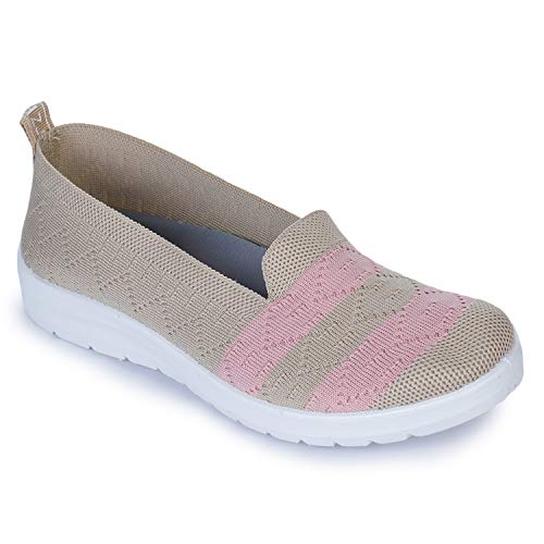 Runnerz Running and Walking Easy Slip on Sport, Gym Shoes for Women with Comfortable Grip T32_Apricot_Pink_6