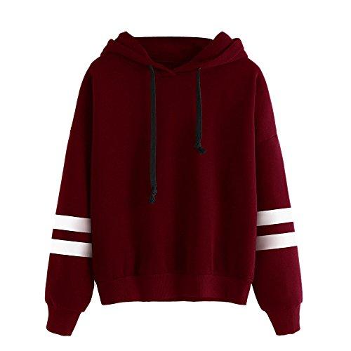 DEELIN des Femme Couleur Unie Manche Longue Sweat à Capuche Hiver Épaissir Casual Loose Encapuchonné Sweat-Shirt Pocket Tops Pullover (Small, Y-Vin Rouge)
