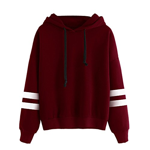 KEERADS Damen Langarmshirt Sweatshirt Pullover, 9 Arten von Mode-Stile optional, XS-XXXL (M, F Rot)