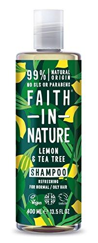 Faith in Nature Natürliches Zitrone & Teebaum Shampoo, Erfrischend, Vegan & Ohne Tierversuche, Frei von Parabenen und SLS, für Normales bis Öliges Haar, 400 ml