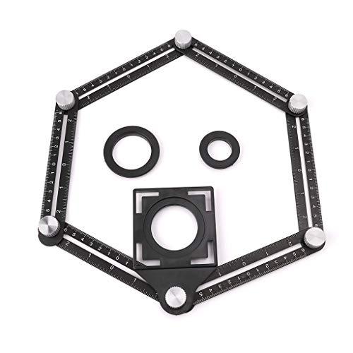 XIGAWAY 6 reglas plegables de ángulo de la plantilla de posicionamiento del agujero del azulejo multi con guía de taladro para carpintería perforadora