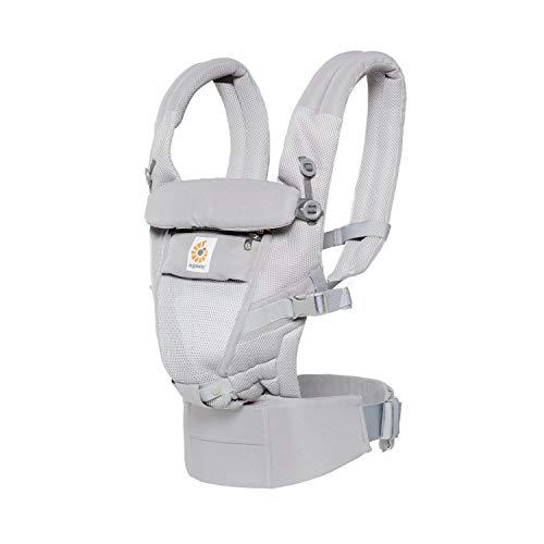 Ergobaby Babytrage für Neugeborene Adapt Cool Air Mesh, Babytragetasche Kindertrage (Pearl Grey)
