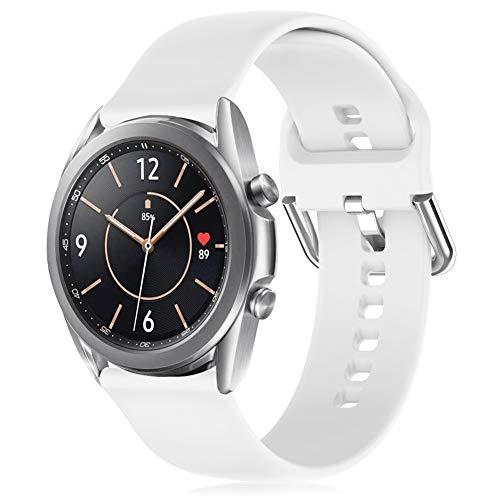 RIOROO 20mm Correa Compatible para Samsung Galaxy Watch 3 41mm / Active / Active 2 40mm 44mm Correa Mujer Hombre Sport Silicona Band Blanco, Accesorios (sin Reloj), L