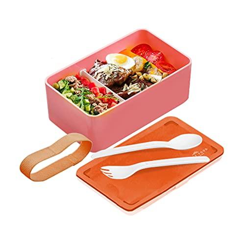 Bento Lunch Box Kids Bento Japonais Equipé D'un Cuillère Et D'une Fourchette Mon Bento Lunch Box Boîte à Bento Petit-déjeuner, Déjeuner, Dîner Micro-ondes Et Au Lave-vaisselle, Rose