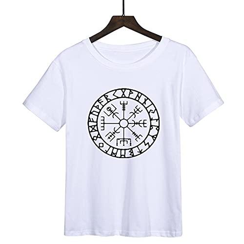 Camiseta de Runa Nrdica, Brjula Mtica Vikinga Vegvisir Futhark Smbolo Valhalla Amulet Top Cinco Colores,Blanco,M