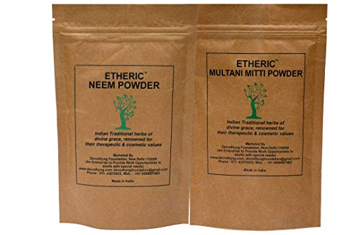 Etheric Neem+Multani Mitti Powder pack for Pimples & Acne (Oily Skin) (2X100 gm)