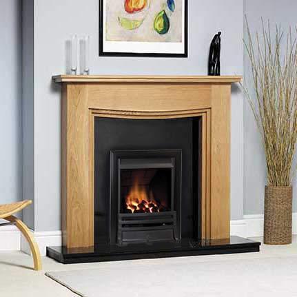 "Gas Oak Surround Black Granite Stone Coals Black Fire Modern Fireplace Suite Downlights - Big Large 54"""