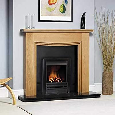Gas Oak Surround Black Granite Stone Coals Black Fire Modern Fireplace Suite Downlights - Big Large 54""