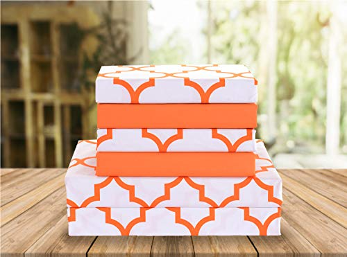 Elegant Comfort Luxury Soft Bed Sheets Quatrefoil Pattern 1500 Thread Count Percale Egyptian Quality Softness Wrinkle and Fade Resistant (4-Piece) Bedding Set, Twin/Twin XL, Joyful Orange