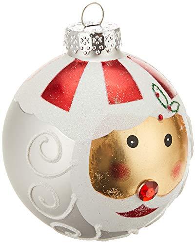 Kurt Adler Santa Face Glass Ball Ornament, 80mm, Set of 4
