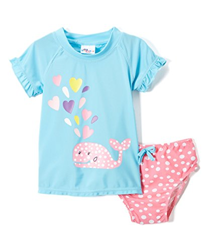Sweet & Soft Baby Girls Cute Whale with Hearts Rashguard 2Pc Swimsuit Swim Set, Pink, 18 Months