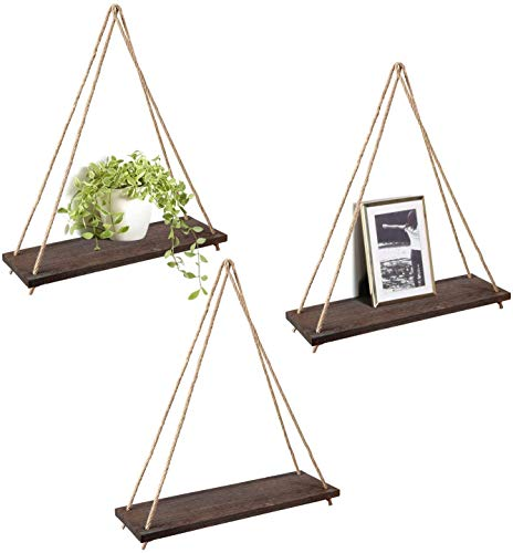 Mkono Wood Hanging Shelves for Wall Boho Decor