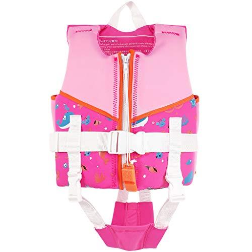 Gogokids Gilet Galleggiante per Bambini - Giubbotti di Galleggiabilità Giubbotto Nuoto Giacca da Nuoto Imparare a Nuotare Rosa S