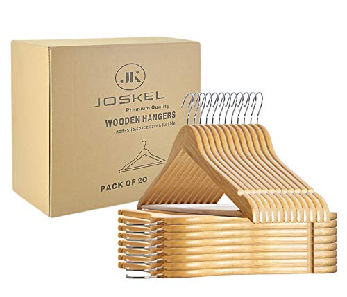 JOSKEL Pack of 20 Wooden Coat Clothes Hangers made with Natural Wood and...