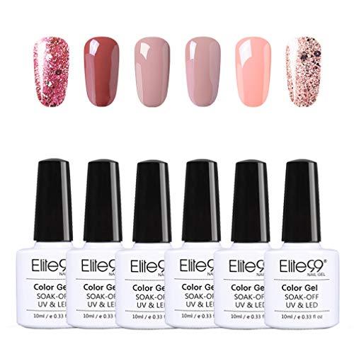 Elite99 Esmaltes Semipermanentes de Uñas en Gel UV LED, 6pcs Kit de Esmaltes de Uñas de Color Nude y Brillo Glitter 10ml 003