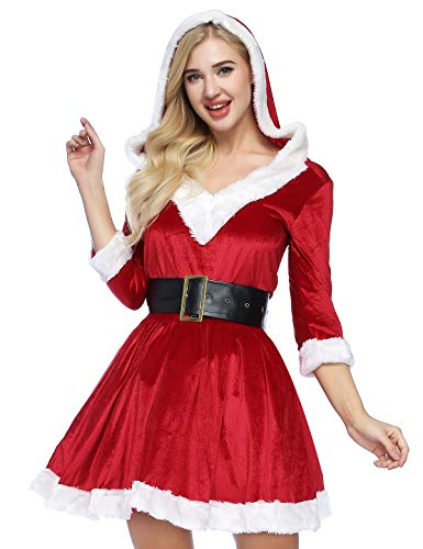 ADOMI Women's 2 Piece Mrs. Claus Costume Santa Baby Costume XL Red