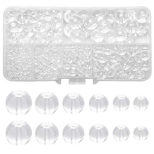 Glasperlen 445 stuck Runde Perlen Charms glatte Oberfläche Perle mit Löchern Multi-Size Lose Perlen für Schmuckherstellung DIY Basteln Halskette Vorhänge Dekor mit Aufbewahrungsbox(3-10mm) (Weiß)