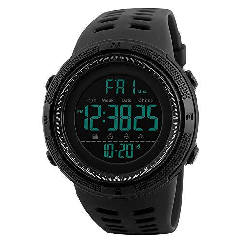 Bainuojia Jungen Digitaluhren, Kinder Sport 5 ATM wasserdicht Digital Uhren mit Alarm/Timer/EL Licht, Blau Kinderuhren Outdoor Armbanduhr für Jugendliche Jungen (Black)