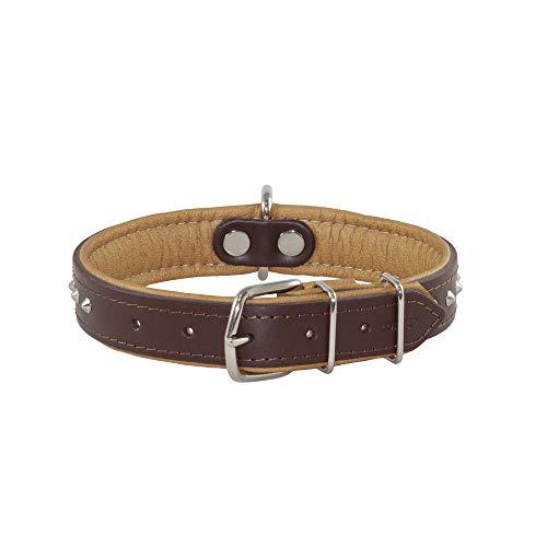 Collar para perro de piel de napa de grano completo, hecho a mano en la UE, collar de perro enriquecido con plata nueva, lujoso, suave y acolchado de doble cara, muy resistente