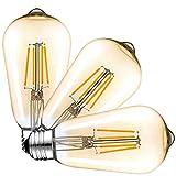 Dimmable Edison LED Bulb, 6W 600LM Vintage LED Filament Light Bulb E27 Edison Screw Lamp 2500-2700K Warm White, 60W Incandescent Equivalent, 3-Pack Amber Gold Tint