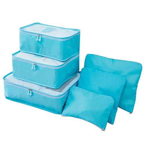 Chytaii 6X Kit de Sac Pochette de Rangement Zippé Organisateur Vêtements Cosmétiques Maquillage Imperméable en Nylon pour Voyage Bleu