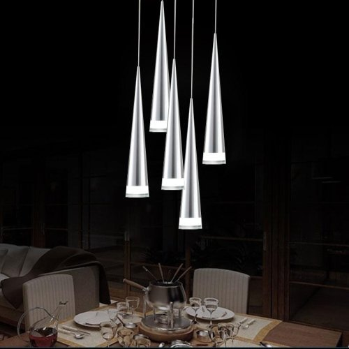 Max 5W Pendant Light Modern Contemporary Chrome Feature Chandeliers Ceiling Lighting Fixture for LED Metal Bedroom Kitchen 5 Lights on One Base
